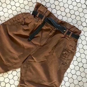 Zara TRF Soft Brown High Waist Paper Bag Trousers